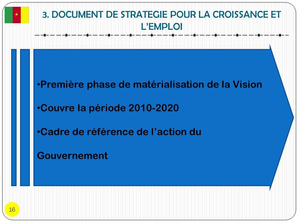 3. DOCUMENT DE STRATEGIE POUR LA CROISSANCE ET LEMPLOI 16 Première phase de matérialisation de la Vision Couvre la période 2010-2020 Cadre de référenc