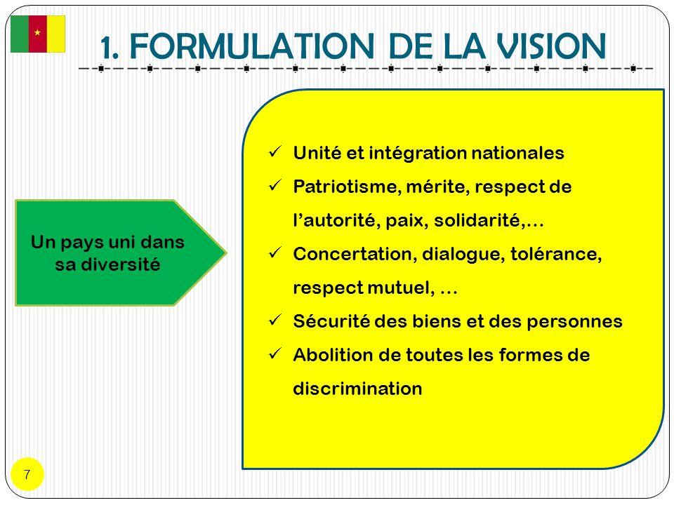 1. FORMULATION DE LA VISION 7 Un pays uni dans sa diversité Unité et intégration nationales Patriotisme, mérite, respect de lautorité, paix, solidarit