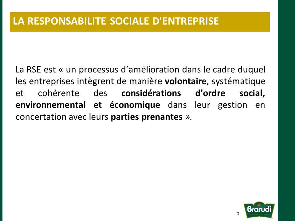 La RSE est « un processus damélioration dans le cadre duquel les entreprises intègrent de manière volontaire, systématique et cohérente des considérations dordre social, environnemental et économique dans leur gestion en concertation avec leurs parties prenantes ».