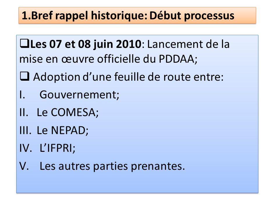1.Bref rappel historique: Début processus Les 07 et 08 juin 2010: Lancement de la mise en œuvre officielle du PDDAA; Adoption dune feuille de route en