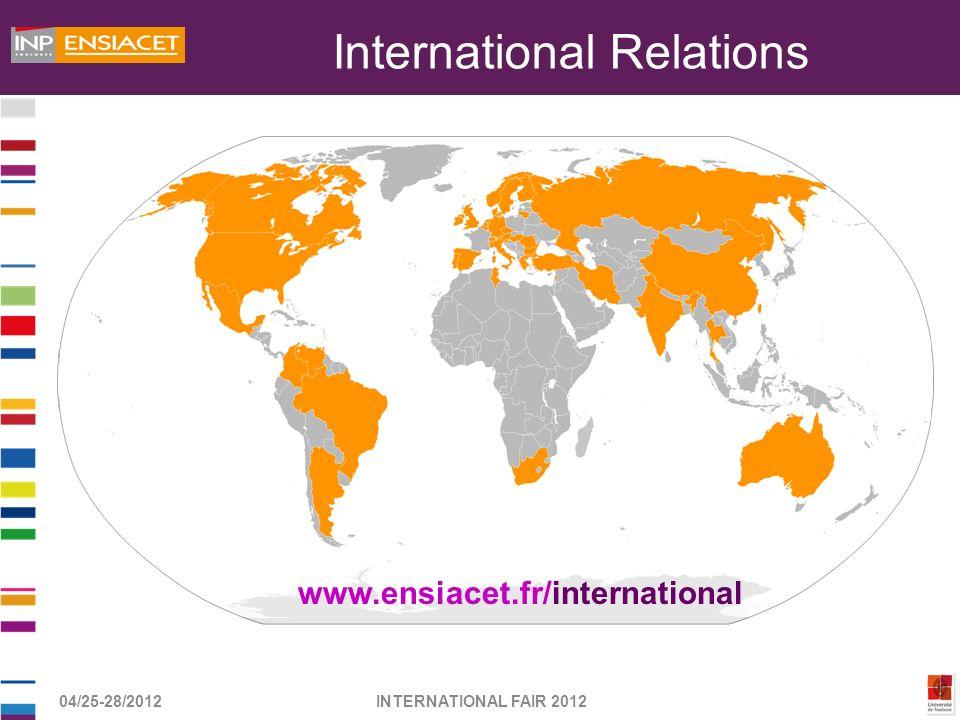 04/25-28/2012INTERNATIONAL FAIR 2012 International Relations www.ensiacet.fr/international
