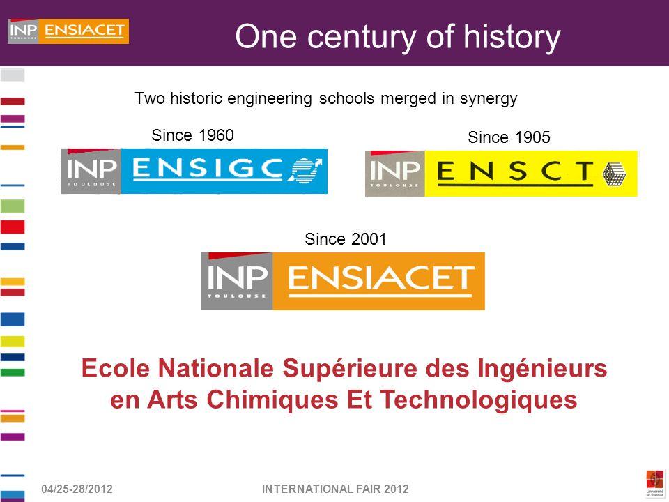 04/25-28/2012INTERNATIONAL FAIR 2012 Ecole Nationale Supérieure des Ingénieurs en Arts Chimiques Et Technologiques Two historic engineering schools me