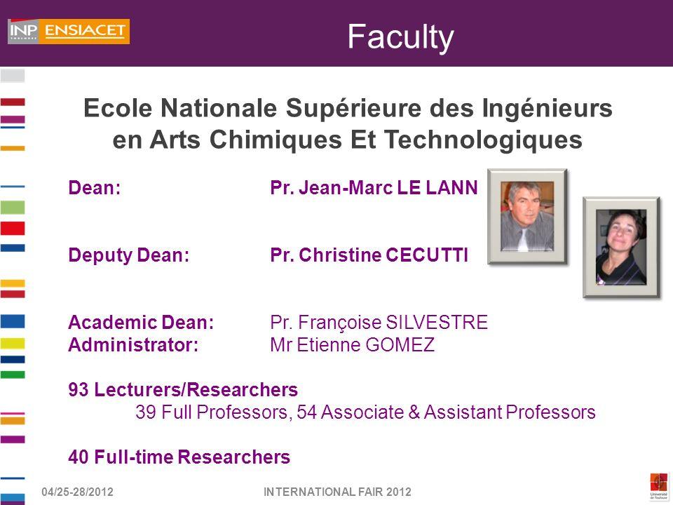 04/25-28/2012INTERNATIONAL FAIR 2012 Dean: Pr. Jean-Marc LE LANN Deputy Dean: Pr. Christine CECUTTI Academic Dean: Pr. Françoise SILVESTRE Administrat