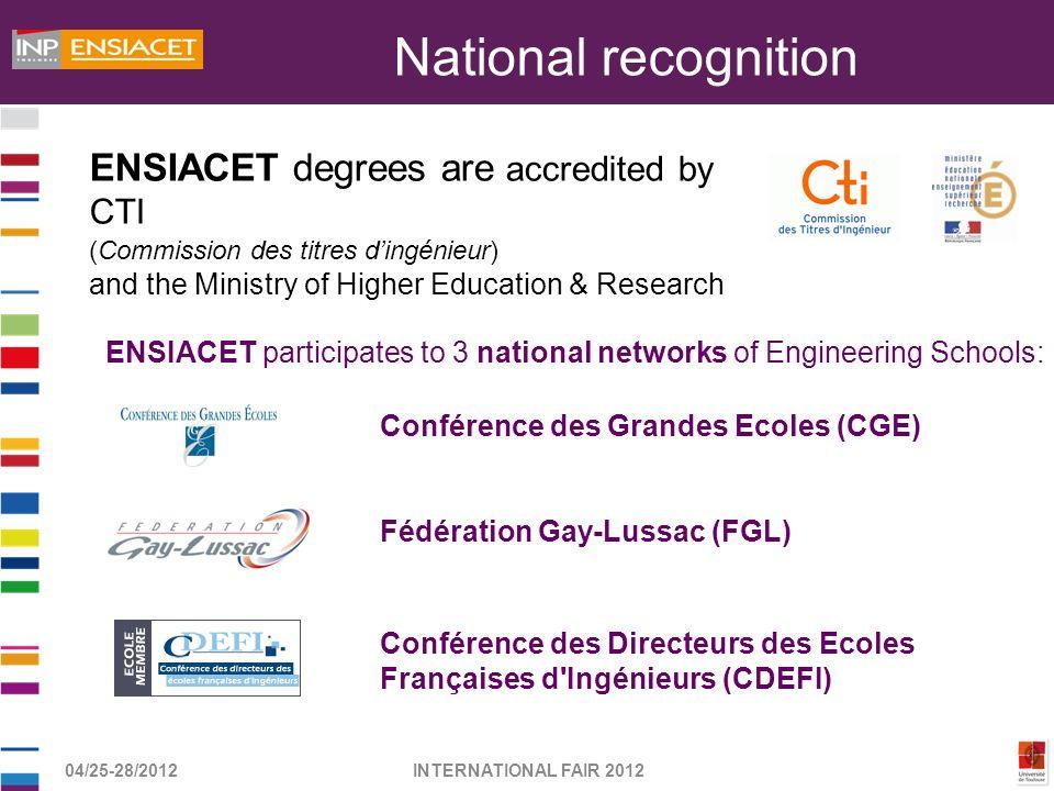 04/25-28/2012INTERNATIONAL FAIR 2012 Conférence des Grandes Ecoles (CGE) Fédération Gay-Lussac (FGL) Conférence des Directeurs des Ecoles Françaises d