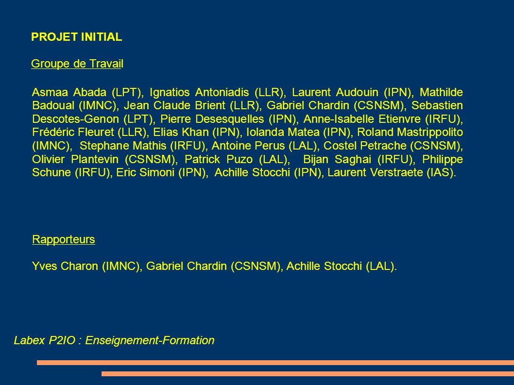 Labex P2IO : Enseignement-Formation PROJET INITIAL Groupe de Travail Asmaa Abada (LPT), Ignatios Antoniadis (LLR), Laurent Audouin (IPN), Mathilde Bad