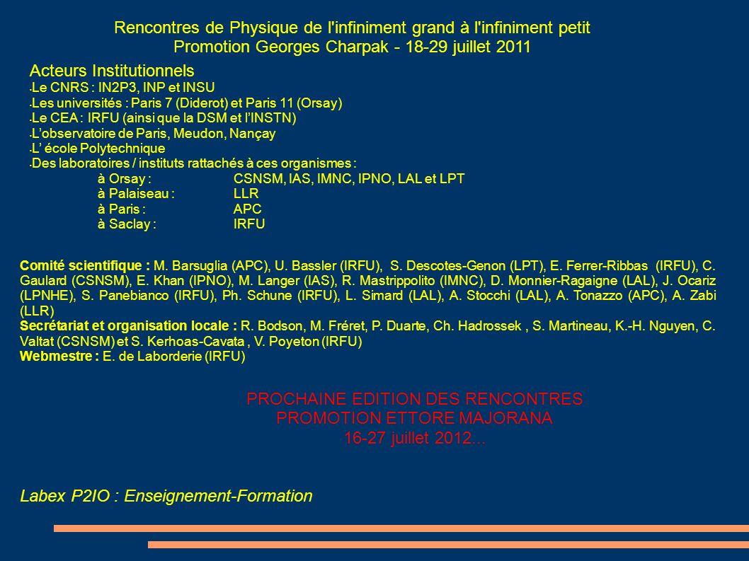 Labex P2IO : Enseignement-Formation Acteurs Institutionnels Le CNRS : IN2P3, INP et INSU Les universités : Paris 7 (Diderot) et Paris 11 (Orsay) Le CE