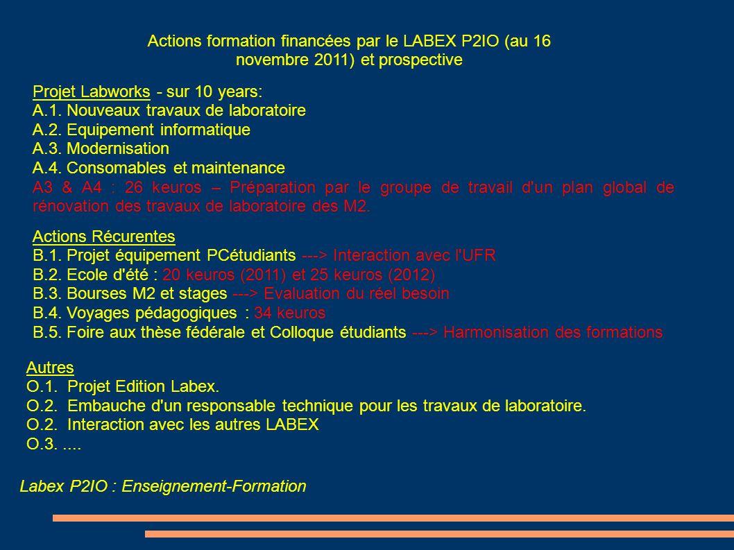 Labex P2IO : Enseignement-Formation Actions formation financées par le LABEX P2IO (au 16 novembre 2011) et prospective Actions Récurentes B.1. Projet