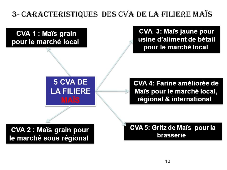 3- CARACTERISTIQUES DES CVA DE LA FILIERE MAÏS 5 CVA DE LA FILIERE MAÏS CVA 3: Maïs jaune pour usine daliment de bétail pour le marché local CVA 1 : M