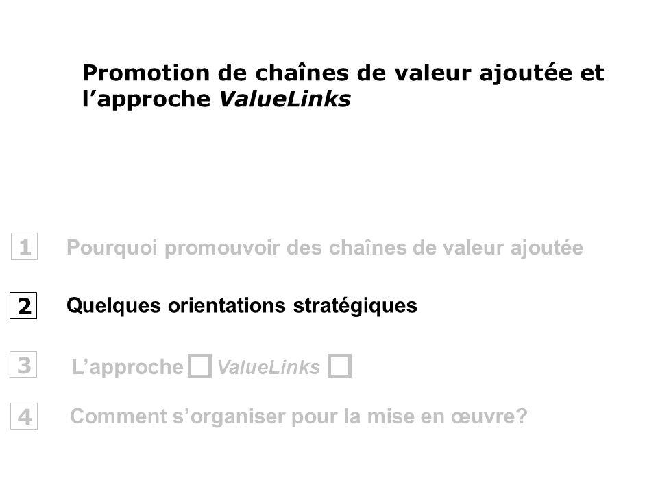 Pourquoi promouvoir des chaînes de valeur ajoutée 1 2 ValueLinks 3 Promotion de chaînes de valeur ajoutée et lapproche ValueLinks Quelques orientation