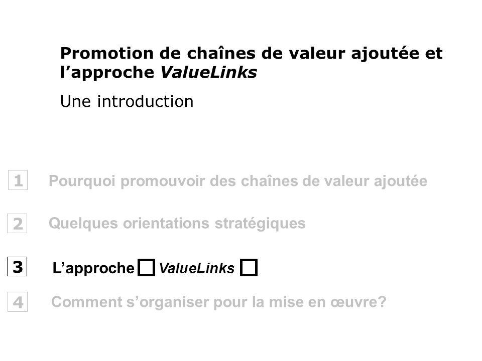 Pourquoi promouvoir des chaînes de valeur ajoutée 1 2 ValueLinks 3 Promotion de chaînes de valeur ajoutée et lapproche ValueLinks Une introduction Que