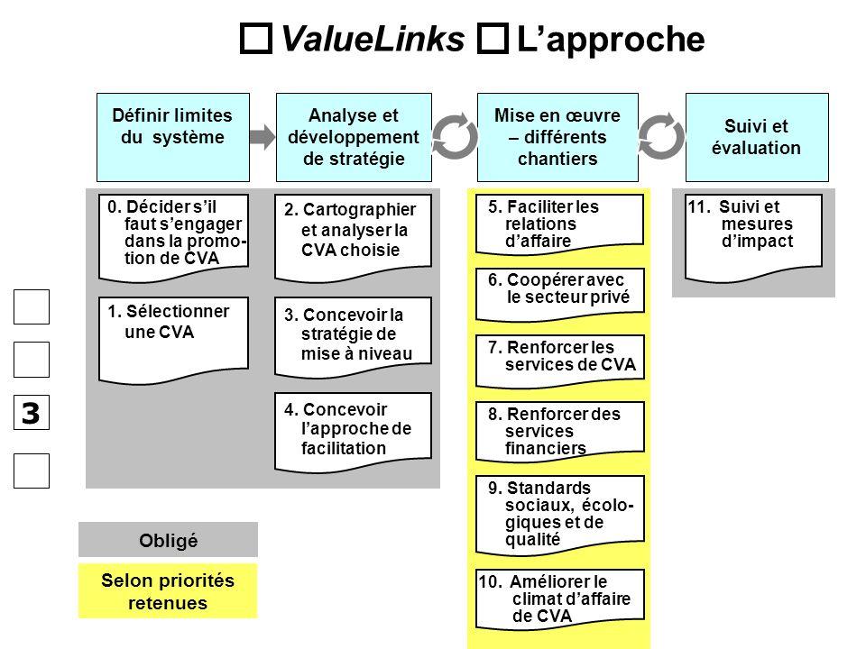 Obligé Selon priorités retenues 6. Coopérer avec le secteur privé 3. Concevoir la stratégie de mise à niveau 2. Cartographier et analyser la CVA chois