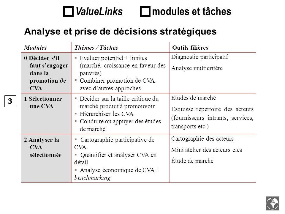 ModulesThèmes / TâchesOutils filières 0 Décider sil faut sengager dans la promotion de CVA Evaluer potentiel + limites (marché, croissance en faveur d