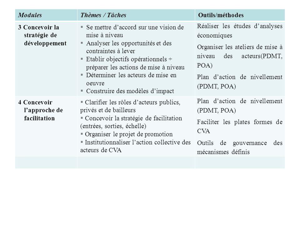 ModulesThèmes / TâchesOutils/méthodes 3 Concevoir la stratégie de développement Se mettre daccord sur une vision de mise à niveau Analyser les opportu