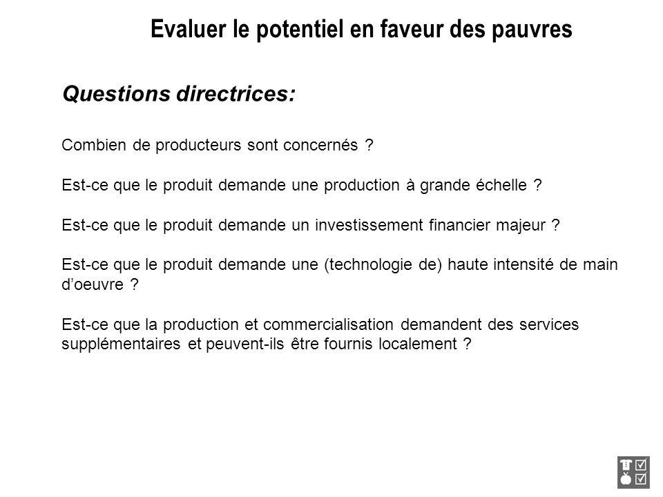 Evaluer le potentiel en faveur des pauvres Questions directrices: Combien de producteurs sont concernés ? Est-ce que le produit demande une production