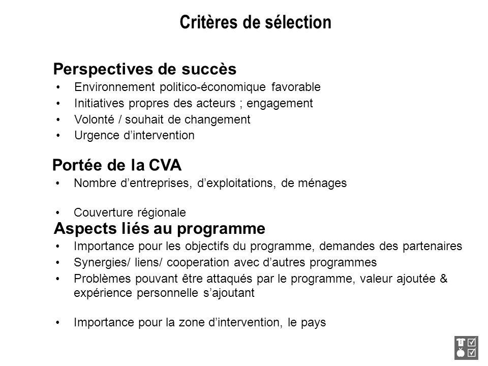 Portée de la CVA Nombre dentreprises, dexploitations, de ménages Couverture régionale Aspects liés au programme Importance pour les objectifs du progr