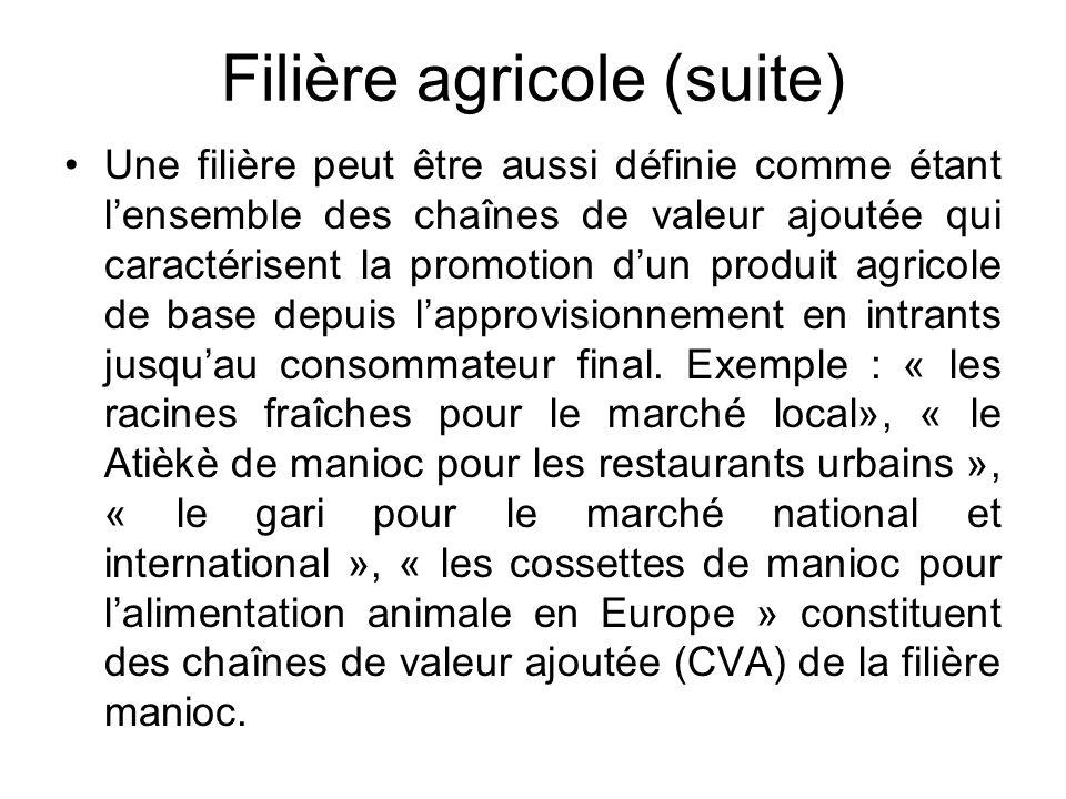 Filière agricole (suite) Une filière peut être aussi définie comme étant lensemble des chaînes de valeur ajoutée qui caractérisent la promotion dun pr