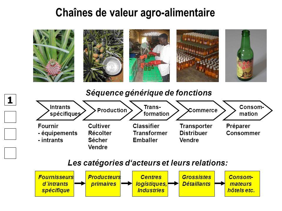 Séquence générique de fonctions Chaînes de valeur agro-alimentaire 1 Intrants spécifiques Fournir - équipements - intrants Production Cultiver Récolte