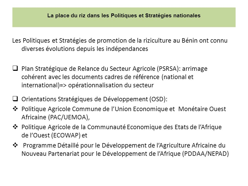 La place du riz dans les Politiques et Stratégies nationales Les Politiques et Stratégies de promotion de la riziculture au Bénin ont connu diverses évolutions depuis les indépendances Plan Stratégique de Relance du Secteur Agricole (PSRSA): arrimage cohérent avec les documents cadres de référence (national et international)=> opérationnalisation du secteur Orientations Stratégiques de Développement (OSD): Politique Agricole Commune de lUnion Economique et Monétaire Ouest Africaine (PAC/UEMOA), Politique Agricole de la Communauté Economique des Etats de lAfrique de lOuest (ECOWAP) et Programme Détaillé pour le Développement de lAgriculture Africaine du Nouveau Partenariat pour le Développement de lAfrique (PDDAA/NEPAD)