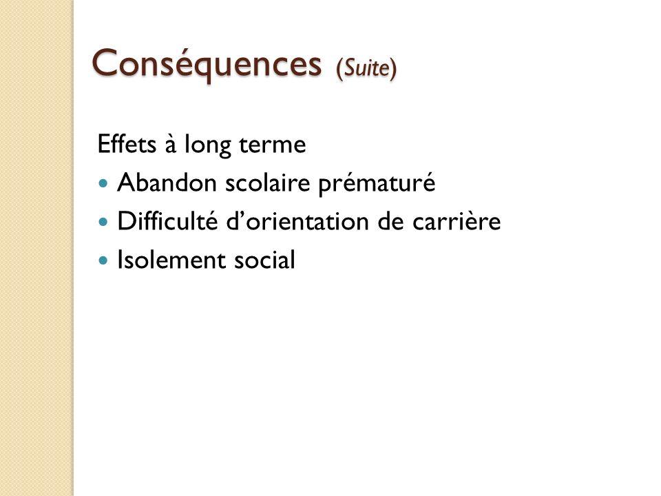 Conséquences (Suite) Effets à long terme Abandon scolaire prématuré Difficulté dorientation de carrière Isolement social