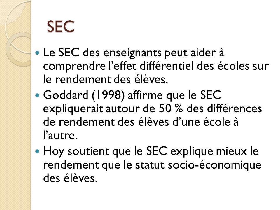 SEC Le SEC des enseignants peut aider à comprendre leffet différentiel des écoles sur le rendement des élèves. Goddard (1998) affirme que le SEC expli