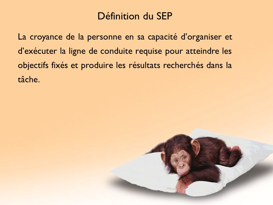Définition du SEP La croyance de la personne en sa capacité dorganiser et dexécuter la ligne de conduite requise pour atteindre les objectifs fixés et