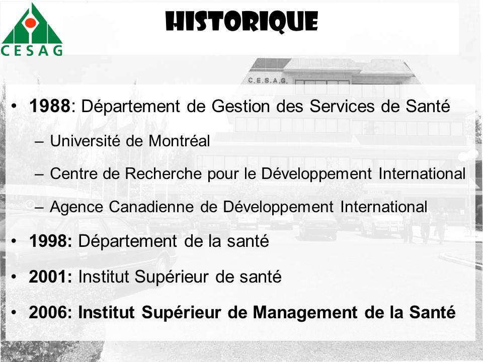 historique 1988: Département de Gestion des Services de Santé –Université de Montréal –Centre de Recherche pour le Développement International –Agence