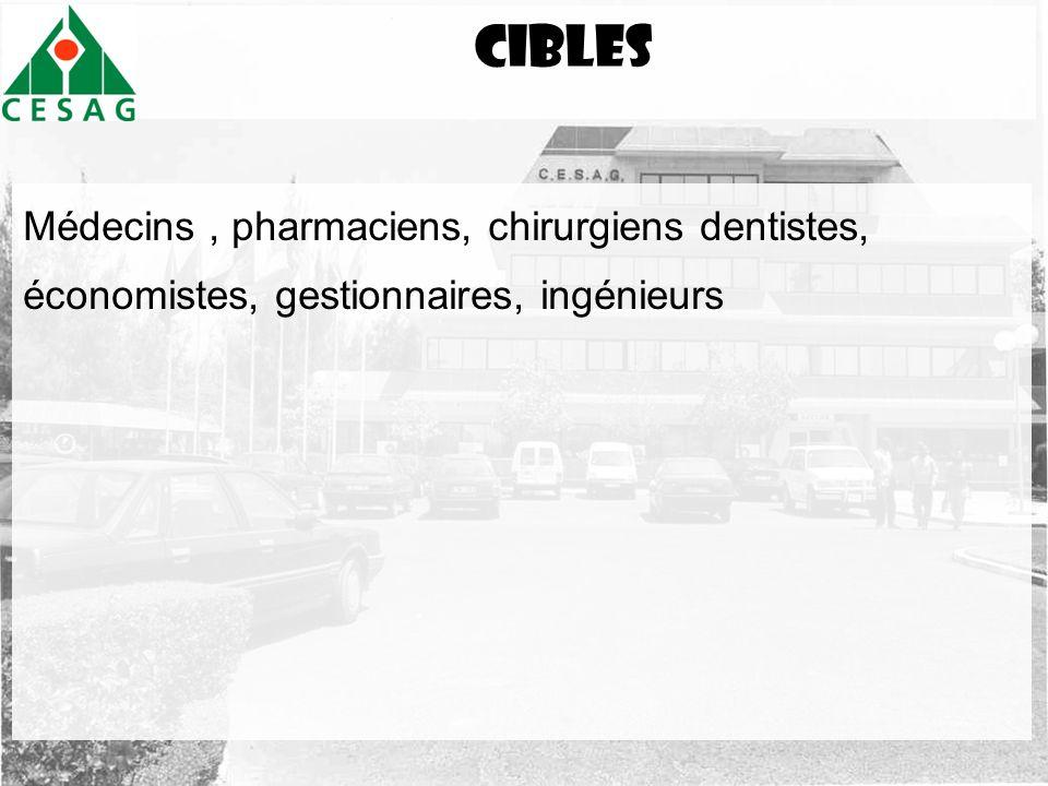 Cibles Médecins, pharmaciens, chirurgiens dentistes, économistes, gestionnaires, ingénieurs