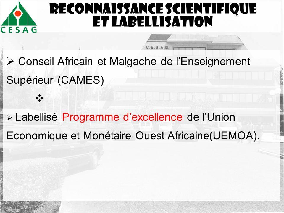 Reconnaissance scientifique Et labellisation Conseil Africain et Malgache de lEnseignement Supérieur (CAMES) Labellisé Programme dexcellence de lUnion