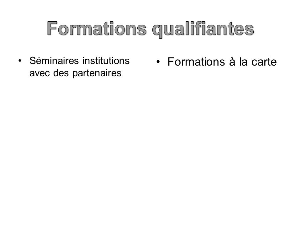 Séminaires institutions avec des partenaires Formations à la carte