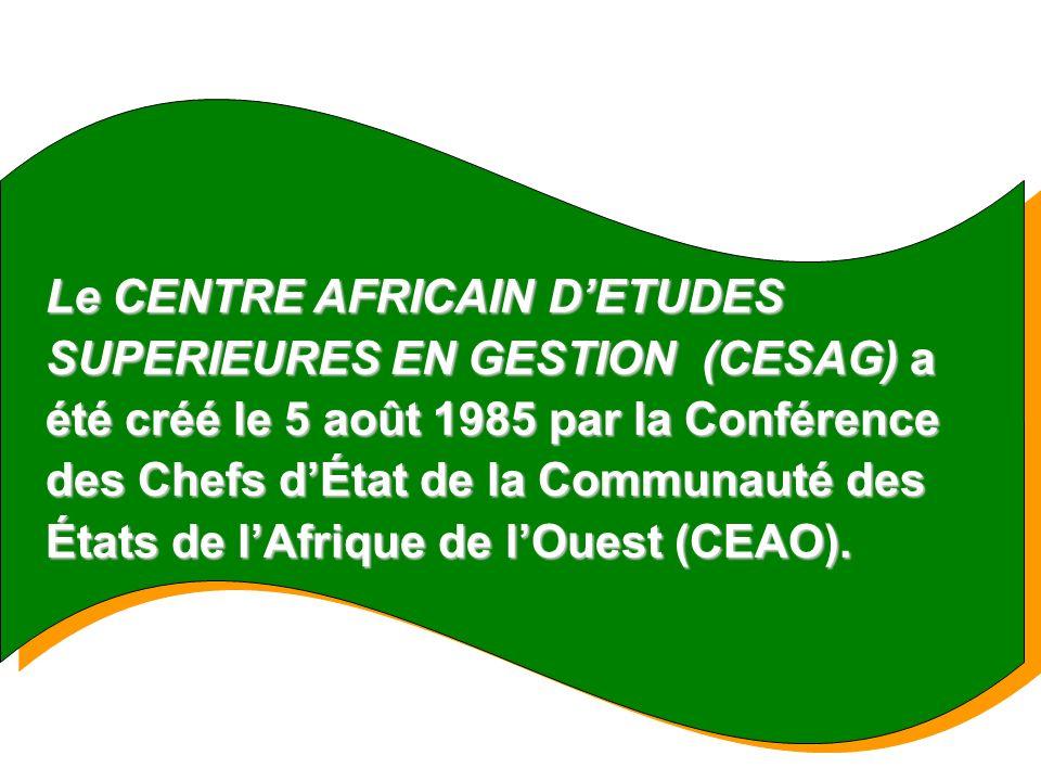 Le 20 septembre 1996, avec lintervention de la Banque Centrale des États de lAfrique de lOuest (BCEAO), le CESAG est devenu un centre de formation pour les États membres de lUnion Économique et Monétaire Ouest Africaine (UEMOA) ; mais sa vocation sétend à lensemble du CONTINENT AFRICAIN.
