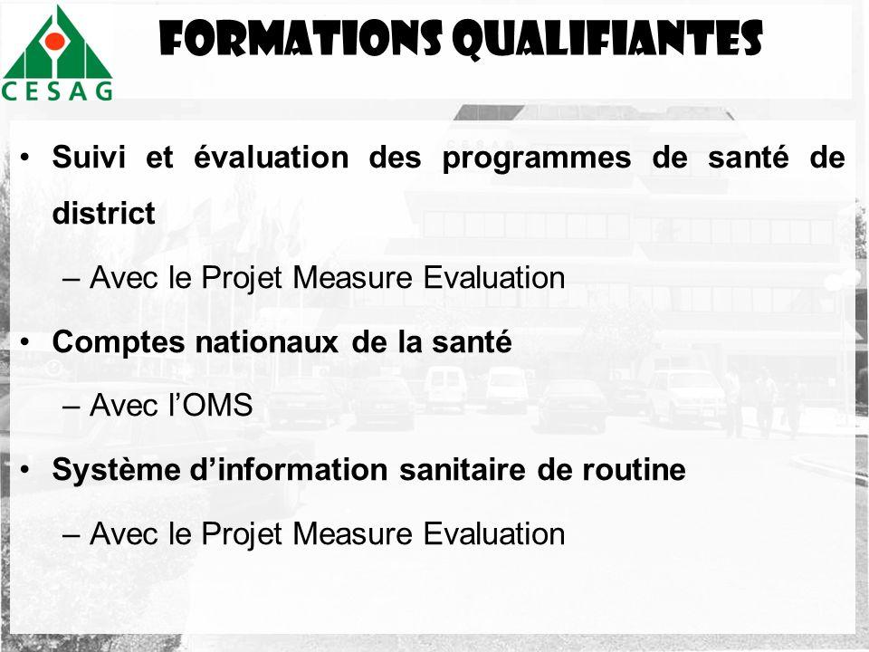 FormationS QUALIFIANTES Suivi et évaluation des programmes de santé de district –Avec le Projet Measure Evaluation Comptes nationaux de la santé –Avec
