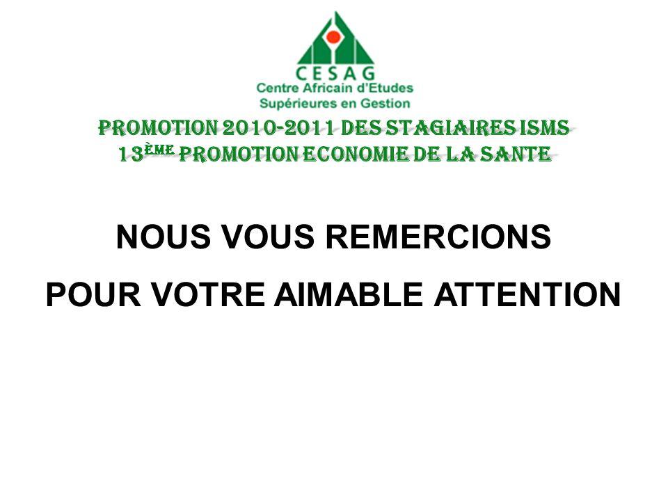 NOUS VOUS REMERCIONS POUR VOTRE AIMABLE ATTENTION PROMOTION 2010-2011 DES STAGIAIRES ISMS 13 ème PROMOTION ECONOMIE DE LA SANTE
