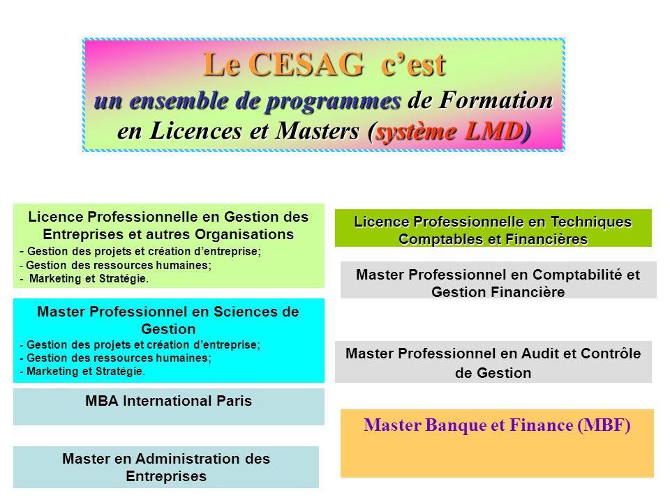 Le CESAG cest un ensemble de programmes de Formation en Licences et Masters (système LMD) Master Professionnel en Sciences de Gestion - Gestion des pr