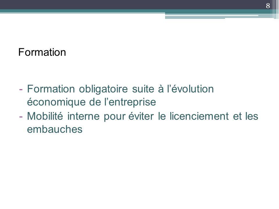 Formation -Formation obligatoire suite à lévolution économique de lentreprise -Mobilité interne pour éviter le licenciement et les embauches 8