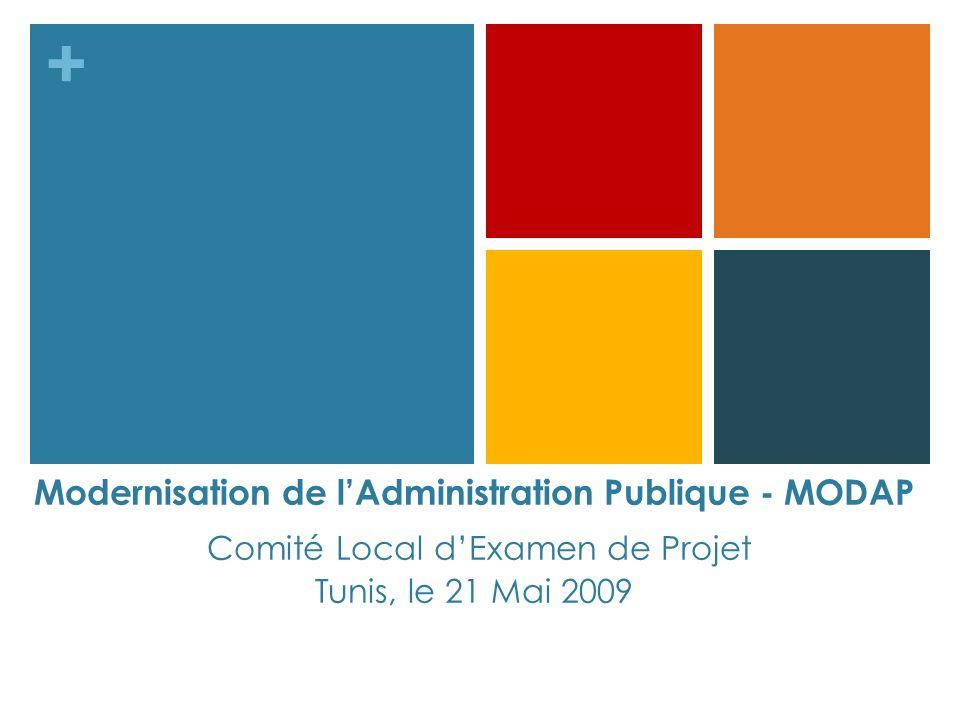 + Modernisation de lAdministration Publique - MODAP Comité Local dExamen de Projet Tunis, le 21 Mai 2009
