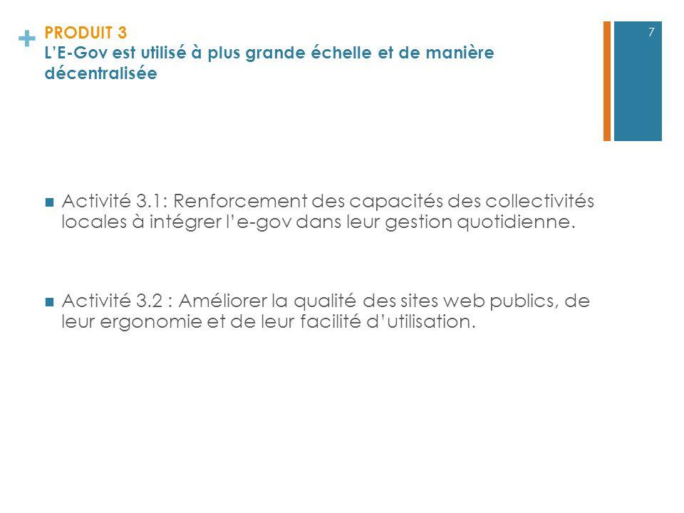 + PRODUIT 3 LE-Gov est utilisé à plus grande échelle et de manière décentralisée Activité 3.1: Renforcement des capacités des collectivités locales à