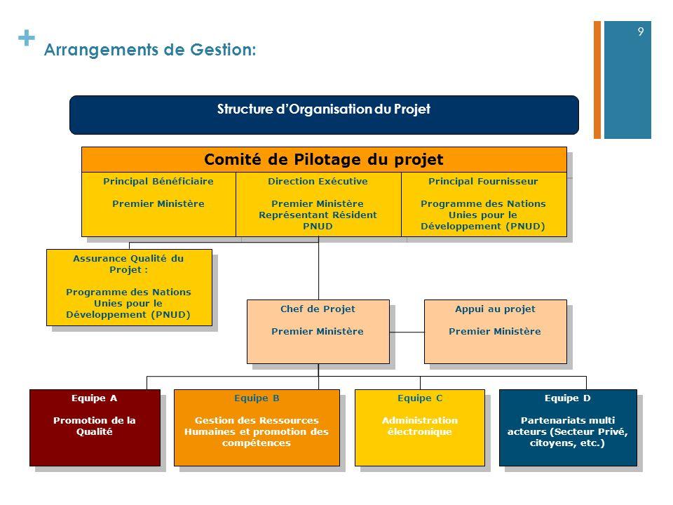 + Arrangements de Gestion: 9 Chef de Projet Premier Ministère Chef de Projet Premier Ministère Comité de Pilotage du projet Principal Bénéficiaire Pre