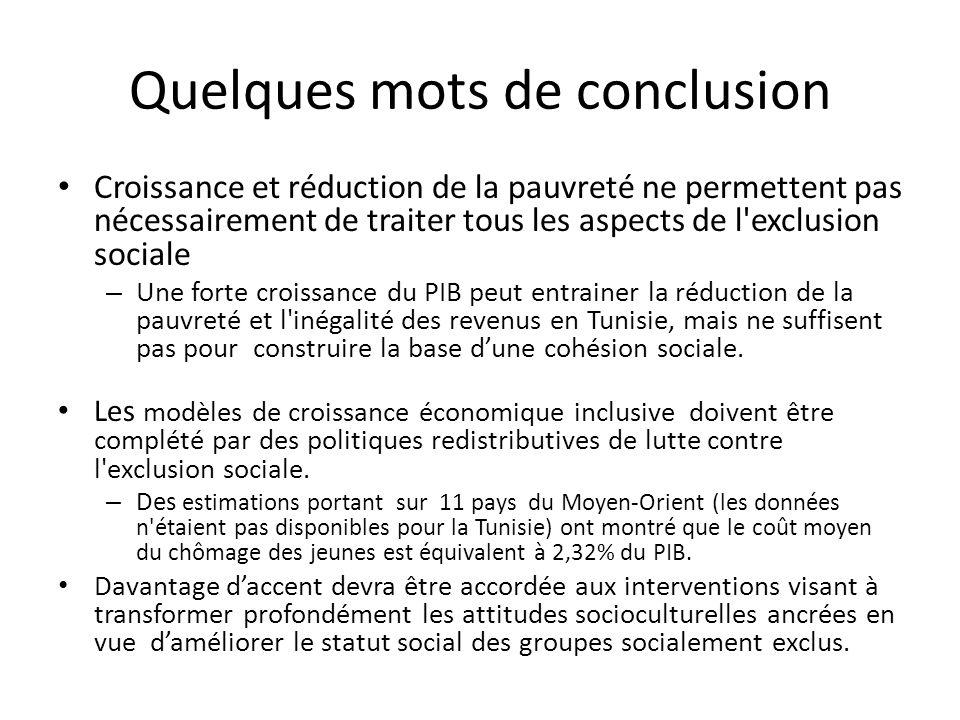 Quelques mots de conclusion Croissance et réduction de la pauvreté ne permettent pas nécessairement de traiter tous les aspects de l exclusion sociale – Une forte croissance du PIB peut entrainer la réduction de la pauvreté et l inégalité des revenus en Tunisie, mais ne suffisent pas pour construire la base dune cohésion sociale.
