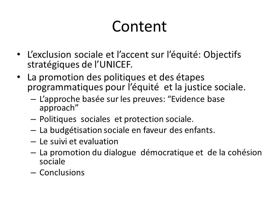 Lexclusion sociale et laccent sur léquité: Objectifs stratégiques de lUNICEF.