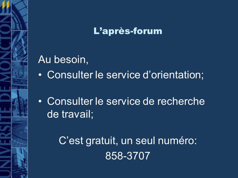 Laprès-forum Au besoin, Consulter le service dorientation; Consulter le service de recherche de travail; Cest gratuit, un seul numéro: 858-3707