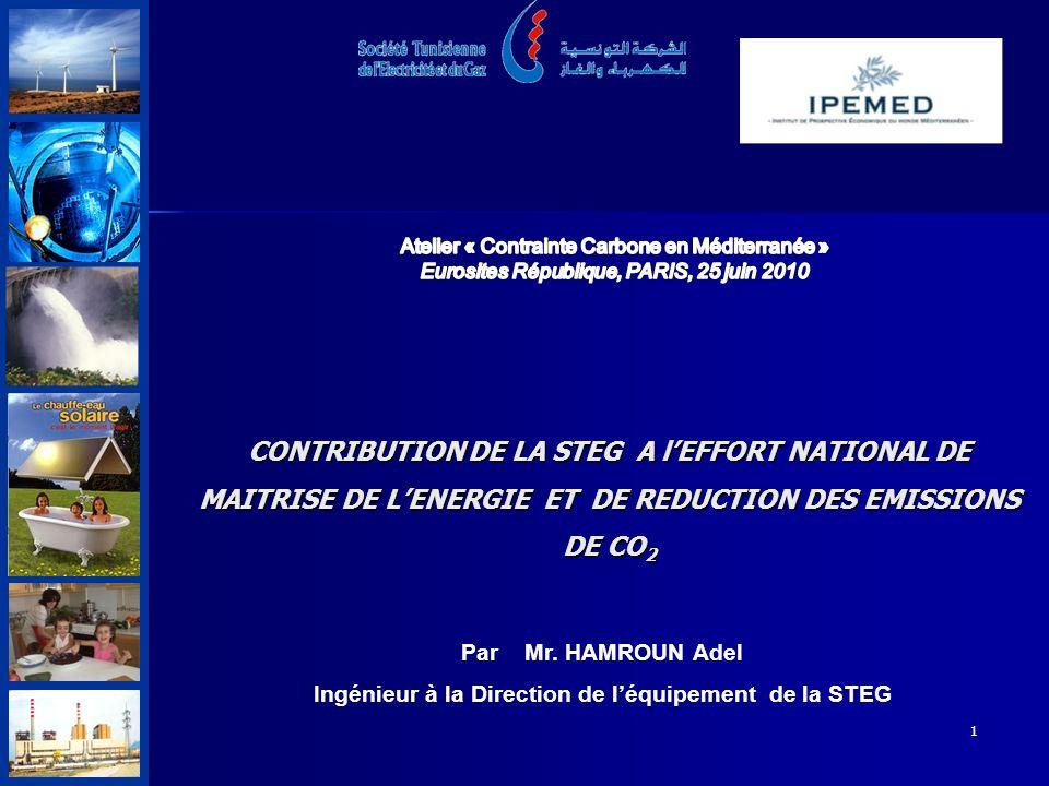 1 CONTRIBUTION DE LA STEG A lEFFORT NATIONAL DE MAITRISE DE LENERGIE ET DE REDUCTION DES EMISSIONS DE CO 2 Par Mr.