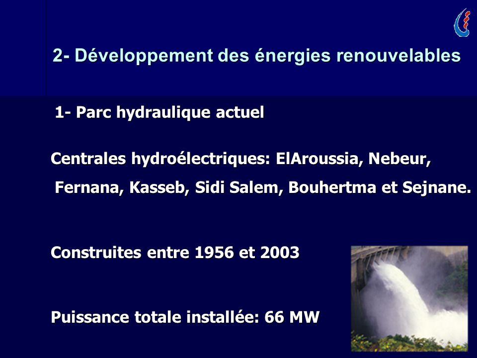 10 Centrales hydroélectriques: ElAroussia, Nebeur, Fernana, Kasseb, Sidi Salem, Bouhertma et Sejnane.