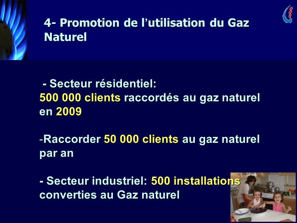 22 4- Promotion de l utilisation du Gaz Naturel - Secteur résidentiel: - Secteur résidentiel: 500 000 clients raccordés au gaz naturel en 2009 -Raccorder 50 000 clients au gaz naturel par an - Secteur industriel: 500 installations converties au Gaz naturel
