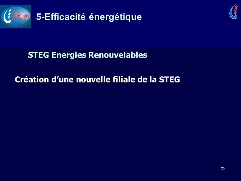 25 STEG Energies Renouvelables Création dune nouvelle filiale de la STEG 5-Efficacité énergétique