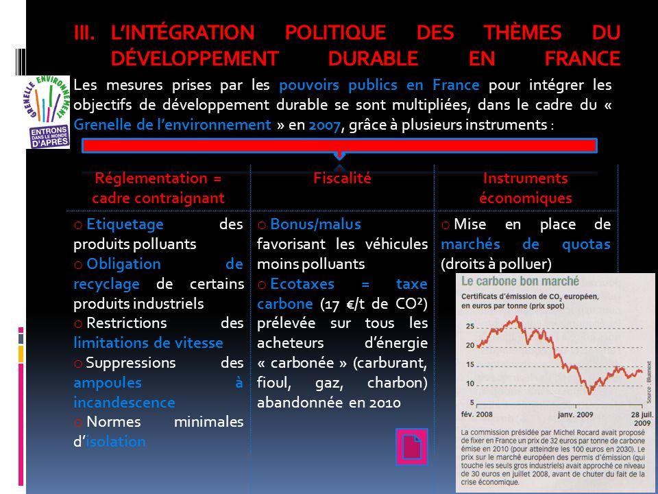 III.LINTÉGRATION POLITIQUE DES THÈMES DU DÉVELOPPEMENT DURABLE EN FRANCE