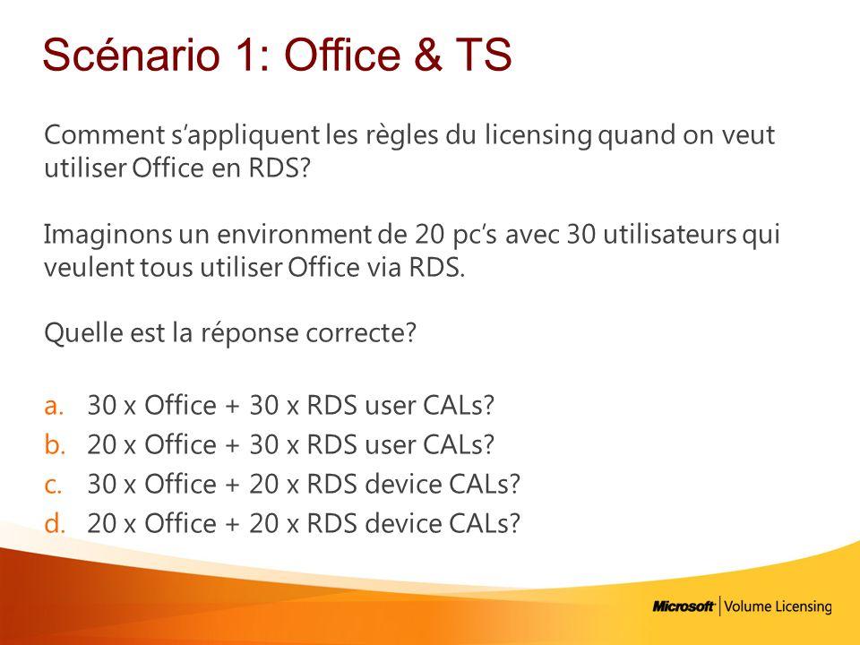 Scénario 1: Office & TS Comment sappliquent les règles du licensing quand on veut utiliser Office en RDS? Imaginons un environment de 20 pcs avec 30 u