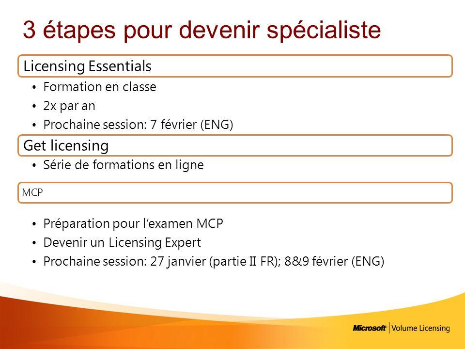 3 étapes pour devenir spécialiste Licensing Essentials Formation en classe 2x par an Prochaine session: 7 février (ENG) Get licensing Série de formati