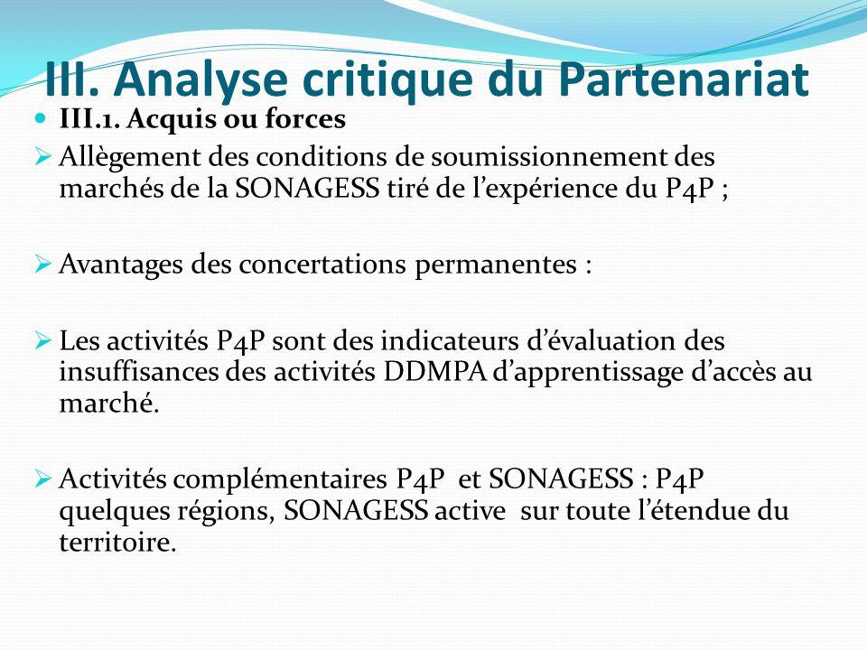 III. Analyse critique du Partenariat III.1.