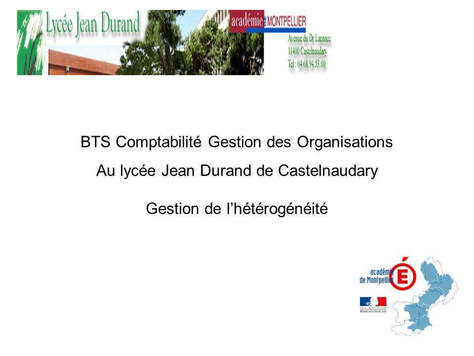 BTS Comptabilité Gestion des Organisations Au lycée Jean Durand de Castelnaudary Gestion de lhétérogénéité