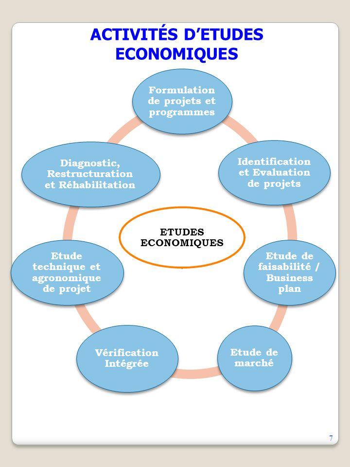 ACTIVITÉS DETUDES ECONOMIQUES ETUDES ECONOMIQUES Formulation de projets et programmes Identification et Evaluation de projets Etude de faisabilité / Business plan Etude de marché Vérification Intégrée Etude technique et agronomique de projet Diagnostic, Restructuration et Réhabilitation 7